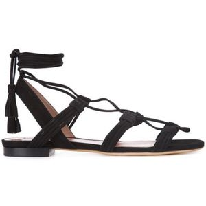 Tabitha Simmons Jax Suede Flat Sandals Ankle Tie